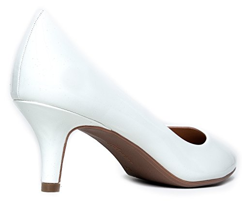 Comfortable Pump Heel Women's Toe Sale Party Closed high Dress Heeled Kitten Patent Mid Work Casual White Pumps Classic IwIXr6