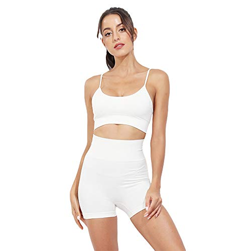 Women Seamless Activewear 2 Pieces Set Leggings Crop Top Yoga Gym Workout Outfit (Shorts-White, L)
