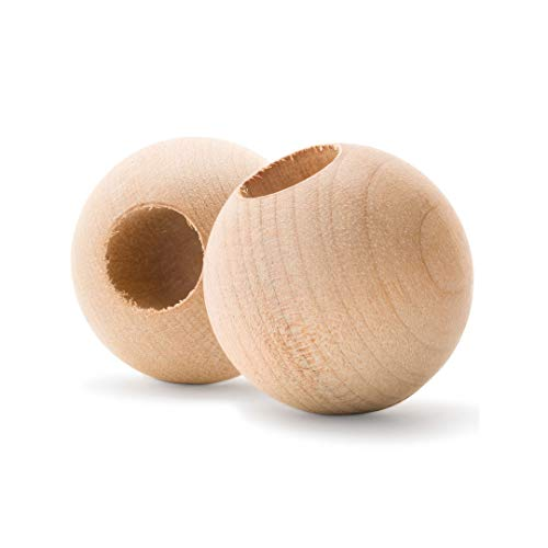 Wood Dowel Caps 1-1/4 inch Diameter with 1/2 inch Hole, Pack of 24 Unfinished Dowel Rod Caps for 1/2 inch Dowel Rods, For Crafts and DIYers, by Woo from Woodpeckers