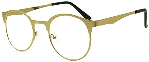 [Full Gold Metal Classic Retro Vintage Small Round Elegant Fashion Clear Lens Eye Glasses] (Vintage Halloween Costumes From The 80s)