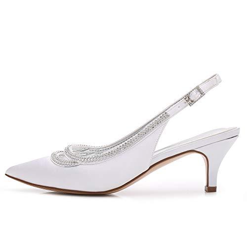 Silver Silver Fiore Pizzo Strass Alti Autunno 6cm Fibbia Elobaby Sposa Sposa Sposa Donna Tacco Tacchi da Raso Scarpe F8Z6AR