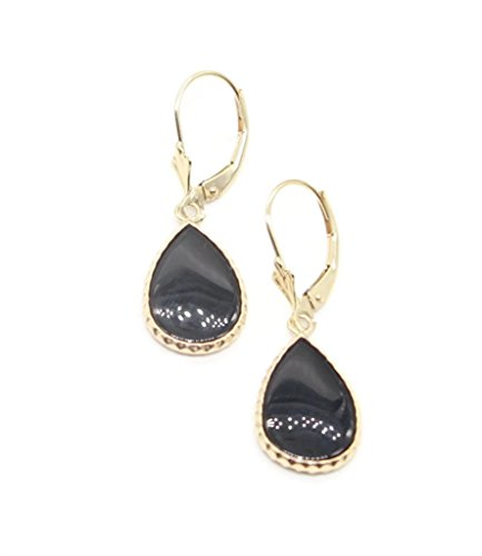 Onyx Black Pear Earrings set in 14K Yellow Gold,Leverbacks