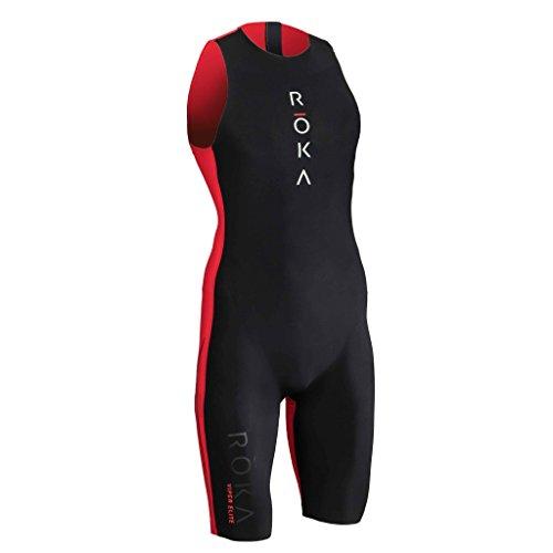 ROKA Men's Viper Elite Premium Hydrophobic Teflon Triathlon Swimming Racing Swimskin with Easy Removal - Black/Atomic Red - Large / Tall (L/T)