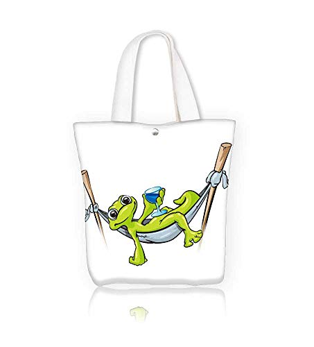 Canvas Beach Bags a gecko relaxing in a hammock holding a cold drink Totes for Women Zippered Beach Shoulder Bag W12xH7.8xD3 INCH