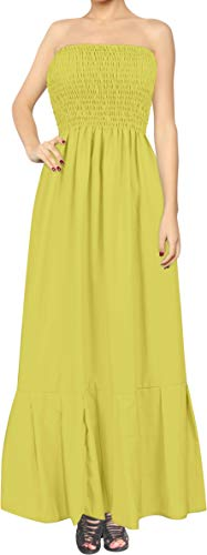 LA LEELA Women's Casual Tube Dress Beach Dress Bandeau Mustard_H815 One Size