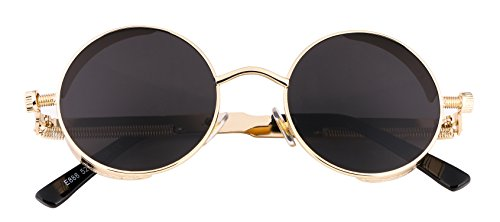 FEISEDY Retro Gothic Steampunk Sunglasses Round Metal Frame Men B1857 4