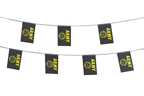 TSMD 100 Feet US Army Gold Crest Flag Small Mini United States Military Polyester Flags Banner,Decorations Supplies for Army Party Events Celebration ()
