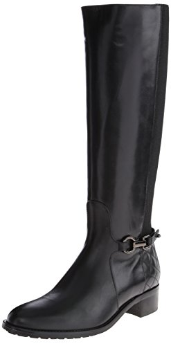Aquatalia Women's Oralie Equestrian Boot,Black Calf Elastic,8 M US