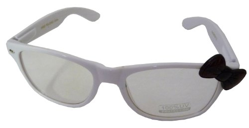 Hello Kitty Classic Wayfer Style Designer Inspired Clear Lens Glasses with Cute Bow Design - White w/ Turtle Shell - Turtle Bans Shell Ray