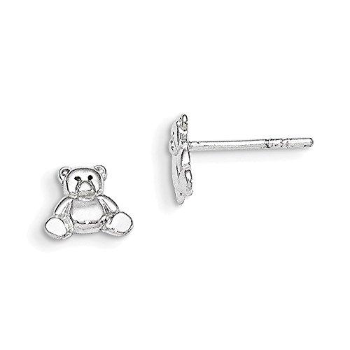 Lex & Lu Sterling Silver Teddy Bear Post Earrings-Prime