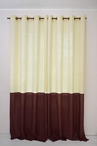Grommet Top Linen Curtain Panel - Color Block Window Treatments - Two Tone Eyelet Curtains