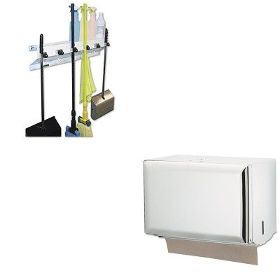 KITEXC3336WHT2SJMT1800WH - Value Kit - San Jamar Key-Lock Singlefold Towel Dispenser (SJMT1800WH) and Ex-cell The Clincher Mop amp;amp; Broom Holder (EXC3336WHT2)