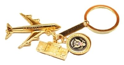 Gold Toned White House, Great Seal Of United States & US Air Force One United States Washinton DC Key Chain