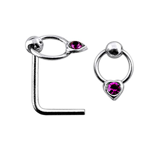 Purple Jeweled Heart on Moving Ring Top 22 Gauge Silver L Shape - L Bend Nose Stud Nose Pin