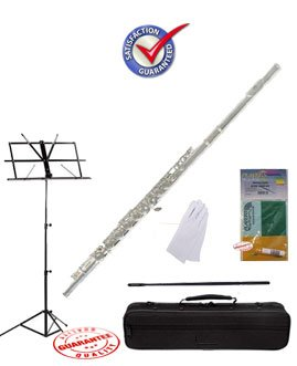 Fever Nickel C Flute Closed Hole School Package with Case, Music Stand, and Cleaning Kit