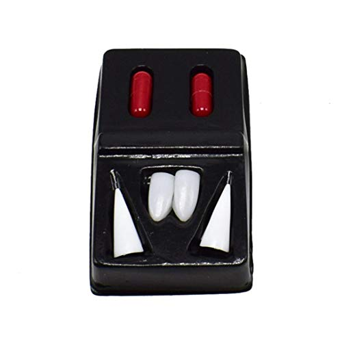 Gbell Scary 4 Pcs Halloween Vampire Teeth with 2pcs Blood Pills,Halloween Costume Party Zombie Werewolf Fangs Dentures Dress Up Props for Teens Men Women Adults -