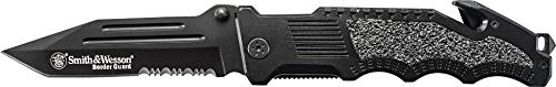- Smith & Wesson Border Guard SWBG2TS 10in High Carbon S.S. Folding Knife with 4.4in Serrated Tanto Blade and Aluminum Handle for Tactical, Survival and EDC