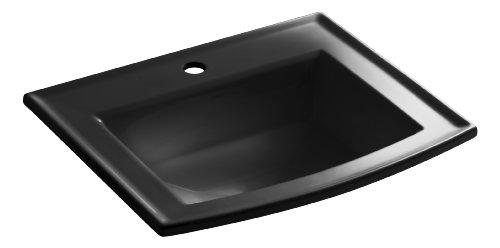 - KOHLER K-2356-1-7 Archer Self-Rimming Bathroom Sink with Single-Hole Faucet Drilling, Black Black