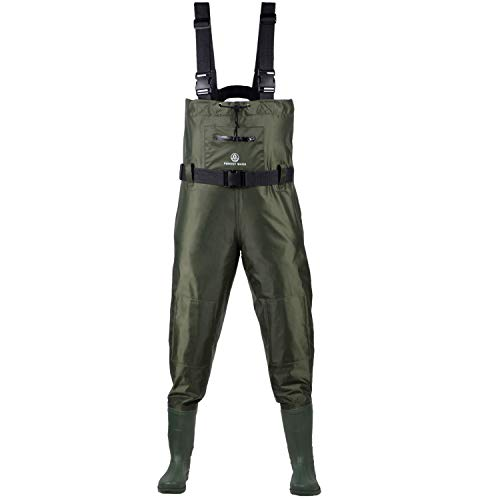 Fishing Chest Waders for Men with Boots and Womens - Waterproof Outfit with Belt, Front Pocket Zipper, and Knee Padding for Extra Protection - Comfy and Leak-Proof Protective Gear (US Men 10)
