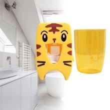 - BalleenShiny Toothpaste Dispenser Squeezer For Children Cute Tiger Cartoon Wall Mount Toothpaste Storage Rack Organizer Bathroom Tools