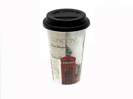 London doppia parete in ceramica tazza da viaggio con coperchio
