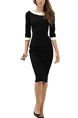 Mangas Bodycon Coctail La Mujer 4 Vestido De Vestido Longitud Vestido 3 De Del Negro Lápiz Rodilla Minetom qPTwS7tq