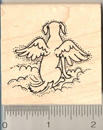 Dog Angel Rubber Stamp - Wood Mounted
