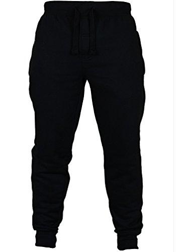 Mens Slim Fit Sports Training Sweat Pants Gym Fitness Trousers Tracksuit Bottoms (M, Black)