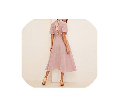 (Flutter Sleeve Swiss Dot Belted Dress Elegant Pink Pastel Solid Dresses A Line Half Sleeve Dresses,Pink,L)