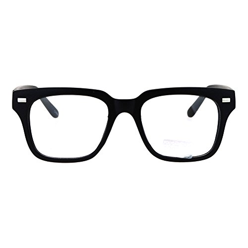Mens Luxury Designer Horned Rim Hipster Nerdy Clear Lens Eye Glasses Matte - Glasses Nerdy Hipster