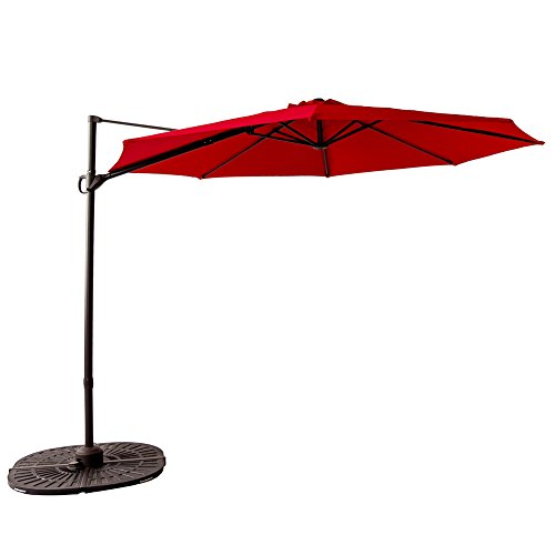 FLAME&SHADE 10' Cantilever Offset Parasol, Large Hanging Patio Umbrella, Cross Base, Infinite Tilting, 360° Rotation Axis, Large Round, Red