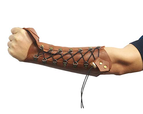 Nachvorn Handmade Leather Arm Guards Bow Hand Shooting Glove Adjustable for Hunting Shooting Target Practice Bow Brown