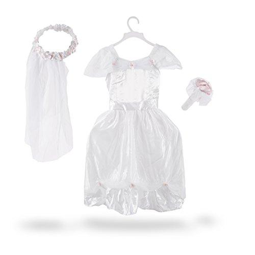 Melissa & Doug Bride Role Play Costume Set (3 pcs) – Gown, Veil, Bouquet