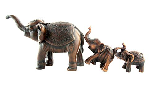 Blue Orchid Mother and Baby Elephant Family Figurines Set of 3