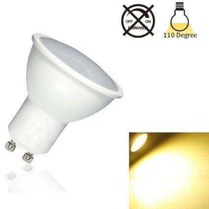 5W GU10Ampoules LED, AC85–265V, non compatible avec variateur d'intensité, 400LM, 3000K, 120° Angle de faisceau, taille standard, éclairage encastré, éclaira