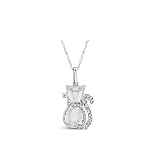 Brilliant Expressions .925 Sterling Silver 1/10 Cttw Kitty-Cat Tail Conflict Free Diamond Accented Adjustable Pendant Necklace (I-J Color, I2-I3 Clarity),16-18 inch (Pave Necklace Diamond Silver)