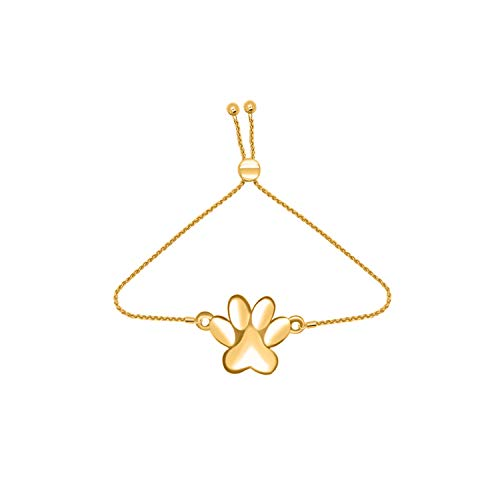14kt Solid Yellow Gold Paw Print Adjustable Bolo Bracelet (yellow-gold) ()