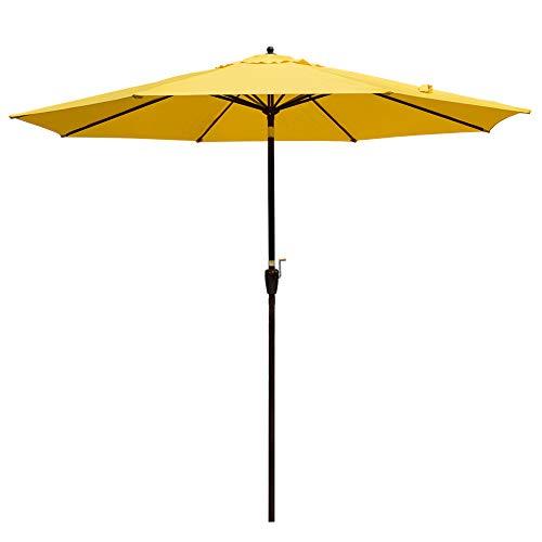Sundale Outdoor 10FT Market Umbrella Table Umbrella with Crank and Auto Tilt, Aluminum Ribs, Polyester Canopy Shade for Patio, Garden, Deck, Backyard, Pool, Yellow