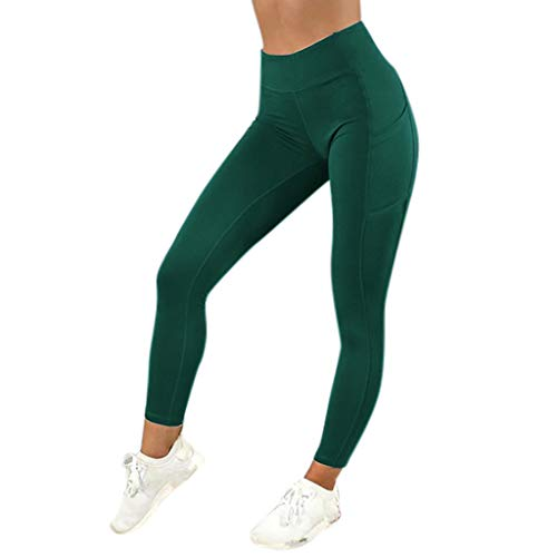 Women's Solid Color Workout Leggings Fitness Sports Gym Running Yoga Athletic Pants with Pocket (S, Green)