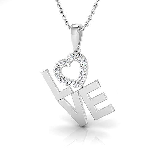 IGI Certified 1/5 Carat Natural Diamond Sterling Silver Love Pendant for Women with Chain (J-K Color, I2-I3 Clarity)
