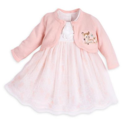 Bambi Costume Girl (Disney Bambi Layette Fancy Baby Dress and Cardigan Set for Girls Size 6 - 9 Months)