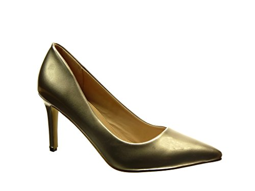 Angkorly Damen Schuhe Pumpe - Stiletto - Patent Stiletto High Heel 8.5 cm cm Gold