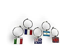 Charms Wine International Flags Wine Charm Set of Five
