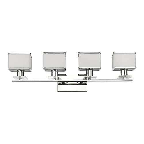 Chloe Lighting CH820039CM32-BL4 Contemporary 4 Light Chrome Finish White Opal Glass Bath Vanity Wall Fixture 32 Inch (Chrome Finish 4 Bulbs)