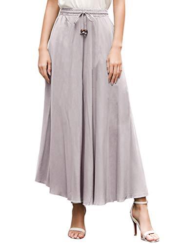 de Taille Taille ORANDESIGNE Gris Vintage Jupes t Longue Femme Plisse Haute lastique Plage Unique Chic Jupe Casual xqxwPYB4