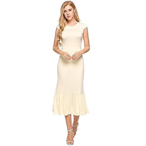 Seewebest Womens Short Sleeve Elegant Slim Fitted Bodycon Pencil Long Dress (Beige,M)