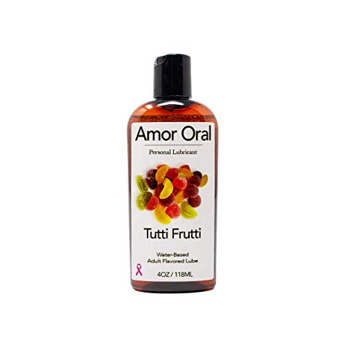 (Tutti Frutti Flavored Lube – Edible Personal Lubricant - 4 oz - Edible and Organic)