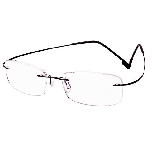 Beison Memory Titanium Stainless Steel Rimless Flexible Reading Glasses (Black, - Optical Glasses Frameless
