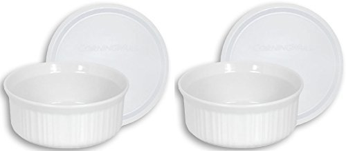 - CorningWare French White 24-Ounce Round Dish with Plastic Cover, Pack of 2 Dishes