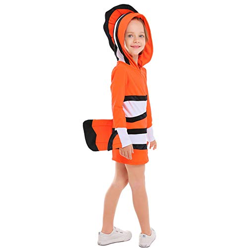 LOLANTA Adults Kids Clownfish Halloween Costume Parent-Child Fancy Family Hooded Dress (Child, 6-7) -
